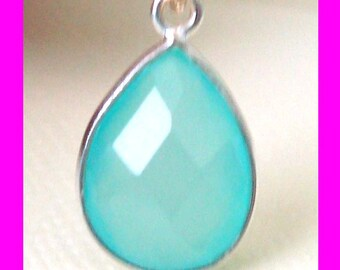 2pcs 16mm x 10mm Aqua Chalcedony Teardrop Sterling Silver Wrapped bezel gemstone faceted charm dangle mini pendant