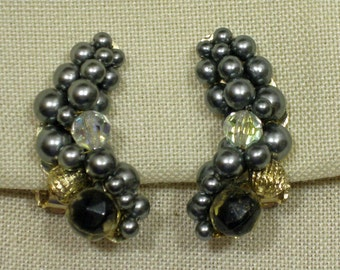 Steel Grey Hand Beaded Crescent Shaped Clip On Earrings 1960s NEW OLD STOCK cSc 225