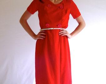 70s Vibrant Red Mod Short Sleeve Faux Wrap Dress s