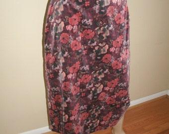 60s Vintage Mister Leonard oxblood burgundy floral velvet pencil skirt 12 Small MOD HIPPIE