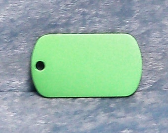 Tag, green anodized aluminum, military style, FREE custom engraving