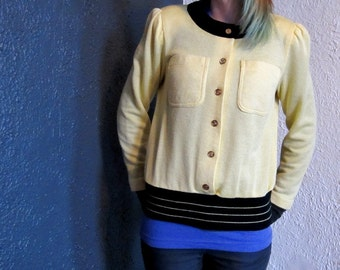 1960s Yellow Black Button Spring Sweater S/M