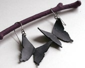 Butterfly Silhouette Earrings - eco friendly recycled bike inner tube - black swallowtails