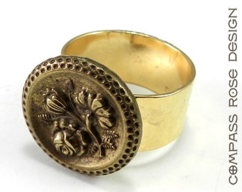 Victorian Jewelry, Antique Button Ring - Victorian Button - Gold Blossom Ring