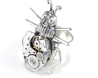Steampunk Ring, Clockwork SOLDERED Steampunk Scarab Ring - Victorian Insect Watch Movement Ring