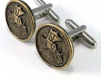 Vintage Button Cuff Links - Mens Industrial Upcycled Antique Buggy Cufflinks - Brass