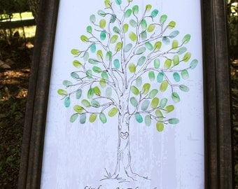 Guest Book Tree Custom Hand drawn Guestbook Fingerprint Tree, Guest book alternative, Hand drawn sketched wedding tree for 50-95 guests