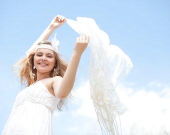 Bridal shawl, wedding shawl, silk shawl, Wedding scarf, white silk shawl, felt scarf, felted scarf,beach wedding scarf, white chiffon scarf