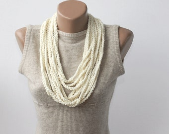 Ivory scarf necklace crochet chain scarf skinny scarves multi strand necklace bohemian summer scarves fashion accessories gift ideas for her