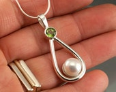 Geniune Fresh Water Button Pearl and Peridot Sterling Silver Pendant teardrop