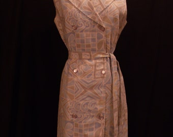Vintage 1970 Double Breasted Blue Abstract Sleeveless Dress with Belt
