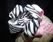 Hairbow Pink ZebraDouble Layered Boutique Bow and Interchangeable Headband Newborn Toddler Older Girl
