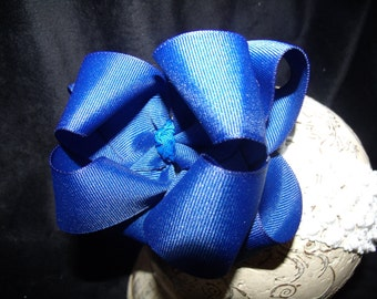 Hairbow Royal Blue Double Layered Boutique Bow and Interchangeable Headband Newborn Toddler Older Girl