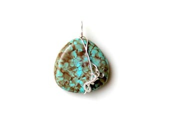 bohemian gemstone pendant. wire wrapped tribal earthy teal brown charm. FREE comestic SHIPPING. unisex rock