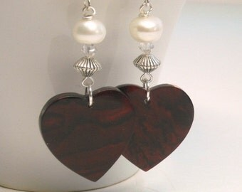 Sale| Red Paua Shell Heart Earrings with Pearls, Abalone Earrings, Valentine, Love, Abalone Shell Earrings, Heart Jewelry, Valentines Day