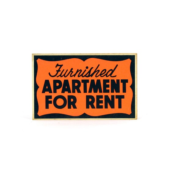 Apartment For Rent Sign: Vintage Neon Cardboard APARTMENT FOR RENT Sign