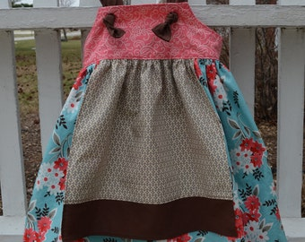 Girls custom boutique Sophie apron knot dress 6 months to 5 years