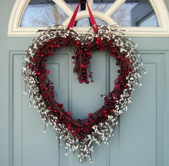 Valentine Wreath Heart Shaped Wreath Spring Berry Wreath