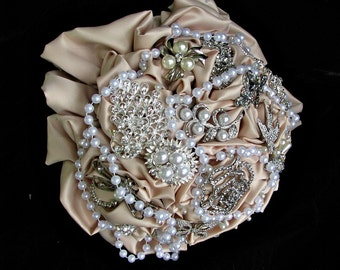 Brooch Bouquet, Champagne bridal bouquet, wedding custom made,many styles and designs, all at reasonable prices