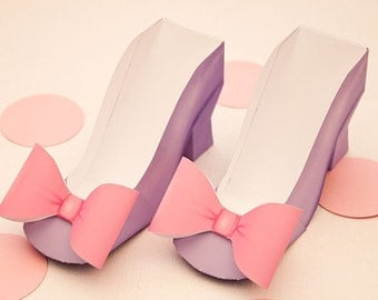 High Heel  Favor Box - DIY Printable Shoe with Bow PDF