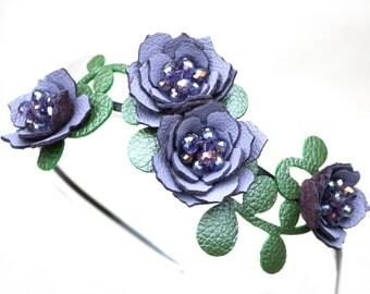 Bridal hair flower headband periwinkle headband wedding hairpiece leather headband with crystal beads woodland wedding prom wearable art