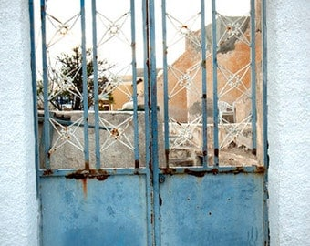 gate photograph, fine art photography print, rustic blue metal gate, weathered, pictures of greece