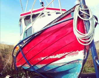 Ship Photo, Fishing Boat, Fine Art Photography, Pastel Red Blue, My Tugboat, Pictures of Iceland