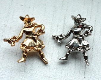 Gunslinger 1950's Brooch // 40s 50s NOS Cowgirl Silver OR Gold Brooch // Pin Up // Rhinestone Settings