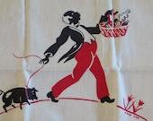 Vintage Kitchen Tea Towel-Black Americana-Anne Orr-Market Pig-Martex-RARE-MINT