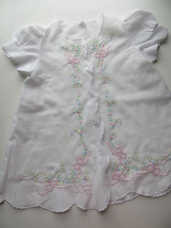 Vintage baby dress bishop embroidered christening shadow work