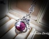 Ethelinda --- Swarovski amethyst rivoli crystal antique sterling silver brass victorian necklace-bridal-dainty-everyday