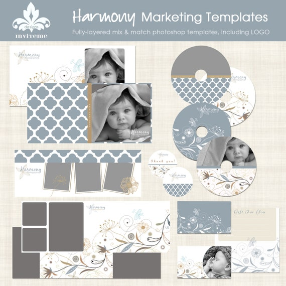 Marketing Template Set Harmony Photography Photoshop with Logo and Facebook timeline INSTANT DOWNLOAD