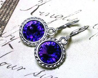 Swarovski Crystal Rivoli Earrings in Heliotrope Purple - Purple and Blue Swarovski Crystal and Sterling Silver Leverbacks