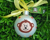 Monkey Ornament - Personalized Nursery Gift - Hand Painted Glass, Christmas Bauble - Monkey Birthday Party, Jungle Party, Jungle Nursery