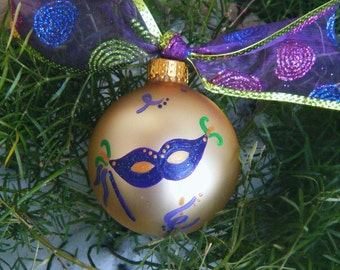 Mardi Gras Mask Ornament - New Orleans Vacation - Personalized Christmas Ornament - Hand Painted, Masquerade Mask, Costume Mask