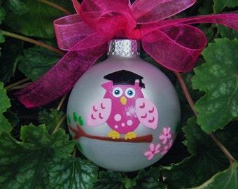 Owl Ornament Graduate - Personalized Owl with Tassle Cap - Hand painted - Graduation Milestone for College, Highschool, Kindergarten