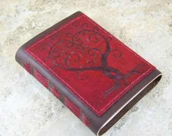 Twisted Love Tree Red Leather Journal, diary, notebook, sketchbook CUSTOM ORDER