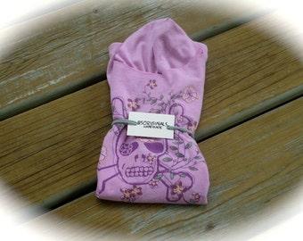 Recycled, upcycled, reusable Lavender skull t-shirt Bag, market bag, project bag