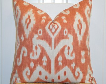 IKAT - BOTH SIDES Or Front Only - Decorative Pillow Cover - Throw Pillow - Accent Pillow - Orange - Ivory