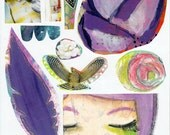 Purple rose feather face collage sheet