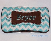 Boutique Personalized Baby Aqua and White Chevron Print Baby Wipes Case