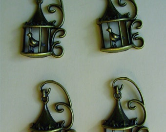 Lot of 4 Ornate Birdcage Charms - Antiqued Brass- 3D Single Sided