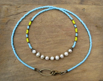 Colorful Bohemian Pearl Necklace with freshwater pearls, light blue seed beads and yellow accents