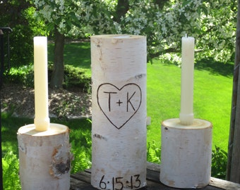 """Personalized  Birch  Unity Candle 10"""" Tall with Two 4"""" Tall Birch Candle Holders Rustic Wedding"""