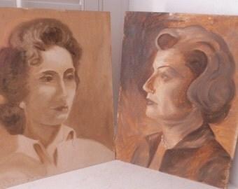 Vintage PAIR 1960's MID-CENTURY Oil Women Portraits Paintings