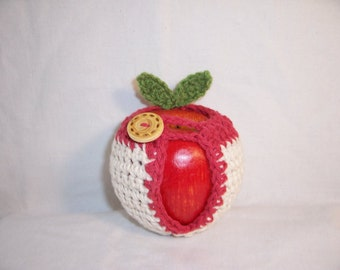 Handmade Crocheted Apple Cozy - Crochet Apple Cozy in Ecru Color with Country Red Trim