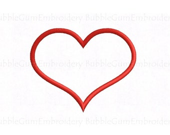 Curvy Heart Applique Embroidery Design Instant Download - 20 Sizes