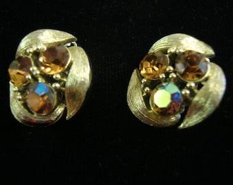 Vintage Signed  Lisner  Mad Men Gold Aurora Borealis Clip On Earrings