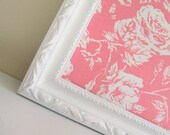 Nursery MEMORY BOARD Magnet Board Framed Bulletin Board Flower Fabric Board Pink White Girls Decor Picture Frame Gift Shabby Chic