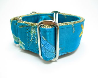 """Houndstown 1.5"""" Teal DragonfliesUnlined Martingale Collar Size Small, Medium, or Large"""